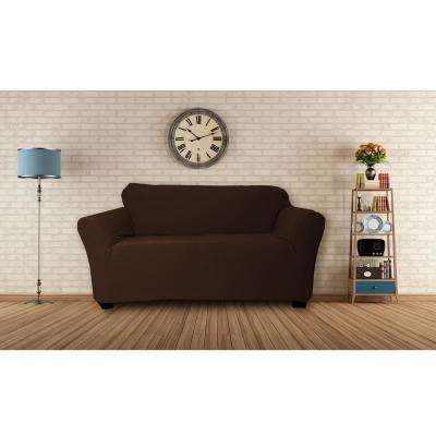 Hanover Water Resistant Chocolate Fit Polyester Fit Loveseat Slip Cover