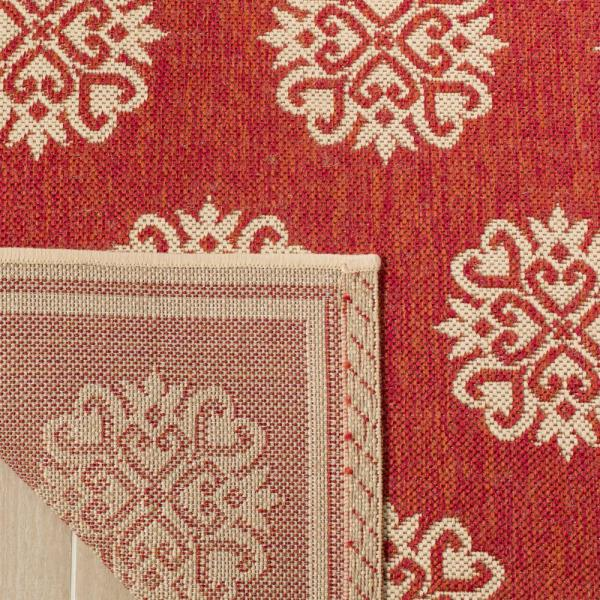 Safavieh Linden Red Cream 8 Ft X 10 Ft Area Rug Lnd181q 8 The Home Depot