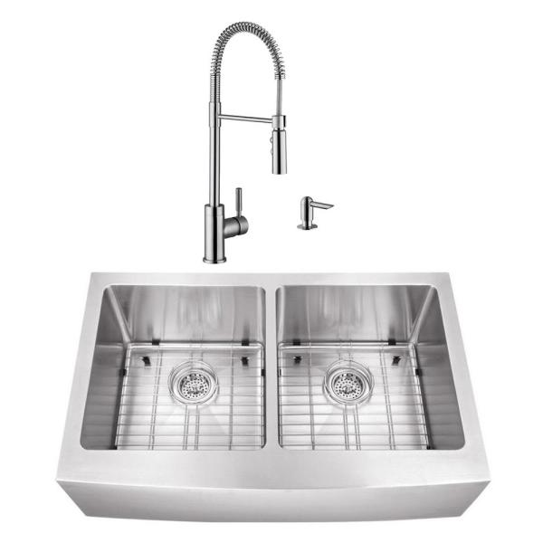 Undermount Stainless Steel 32-7/8 in. 50/50 Double Bowl Kitchen Sink with Brushed Nickel Faucet
