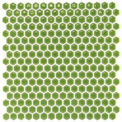 Bliss Edged Hexagon Wheat Grass 12 in. x 12 in. x 10 mm Polished Ceramic Mosaic Tile
