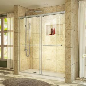 Charisma 34 in. x 60 in. x 78.75 in. Semi-Frameless Sliding Shower Door in Brushed Nickel with Left Drain Shower Base