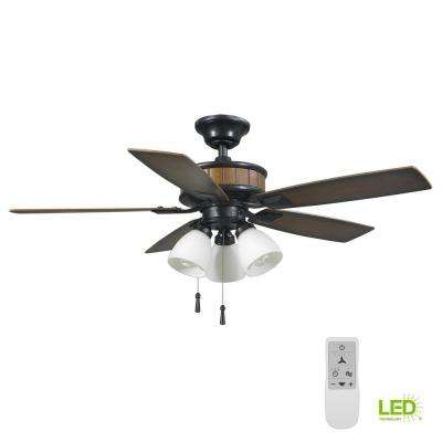 Riverwalk 42 in. Natural Iron LED Smart Ceiling Fan with Light and Remote Works with Google Assistant and Alexa