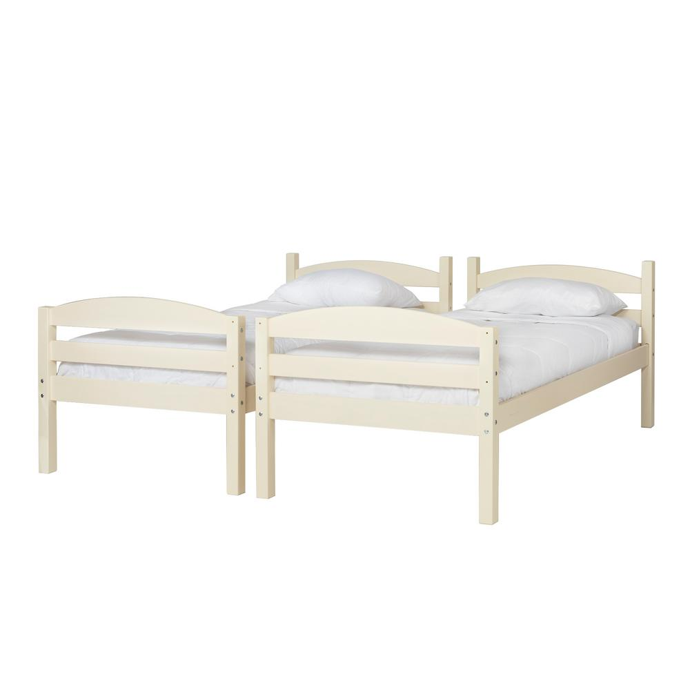 Walker Edison Furniture Company Solid Wood Twin over Twin Bunk Bed - White was $383.9 now $260.84 (32.0% off)