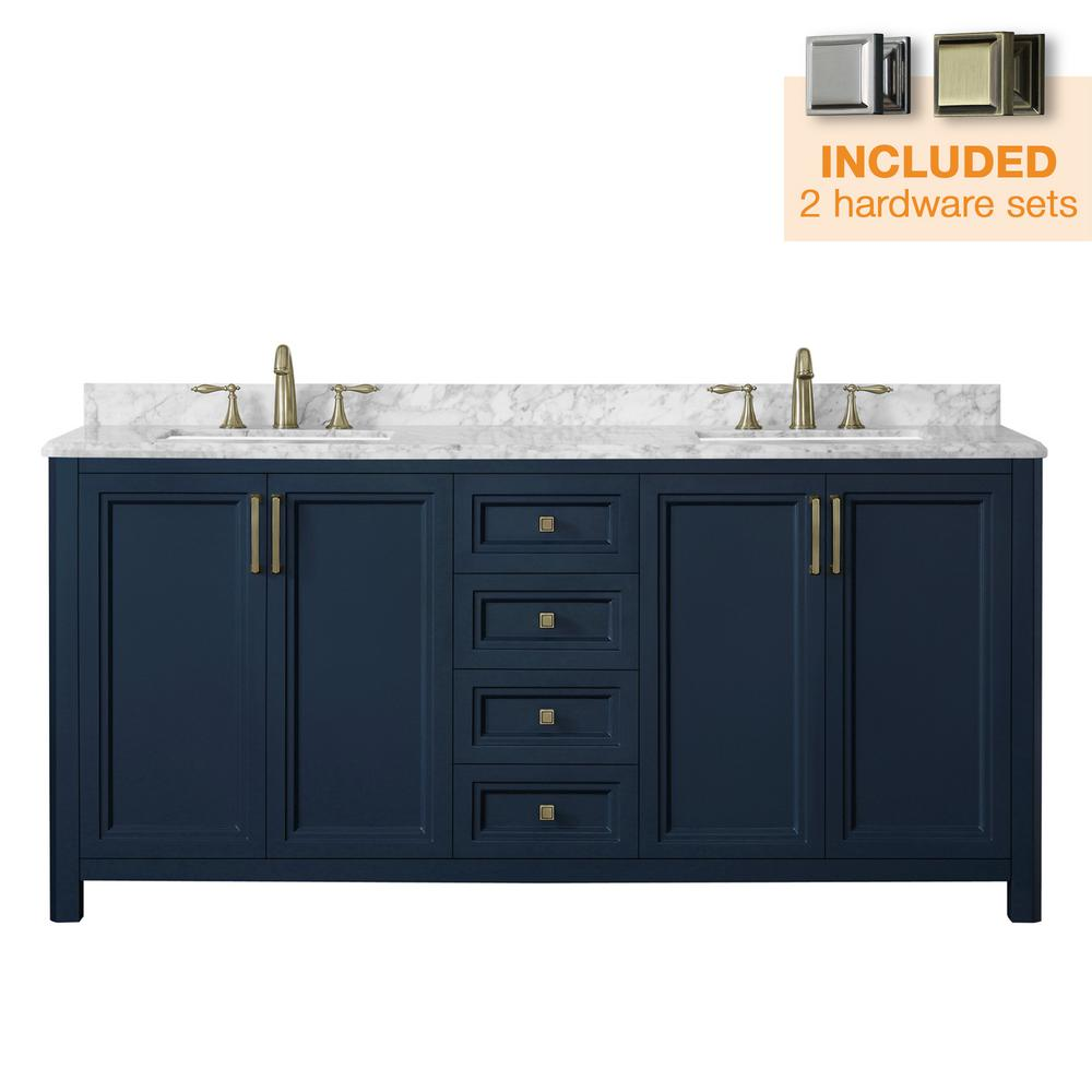 Home Decorators Collection Sandon 72 in. W x 22 in. D Bath Vanity in Midnight Blue with Marble Vanity Top in Carrara White with White Basin