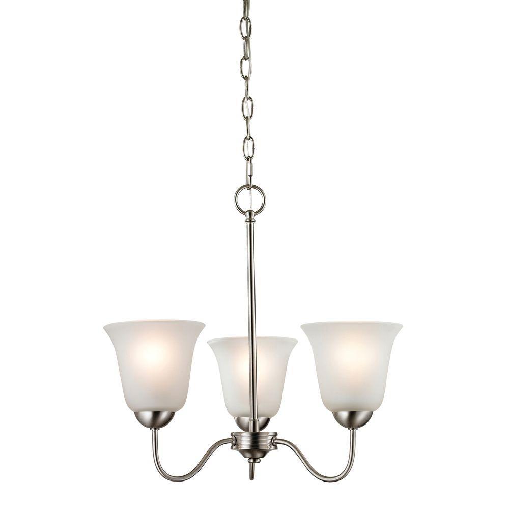 Titan Lighting Conway 3-Light Brushed Nickel Ceiling Chandelier
