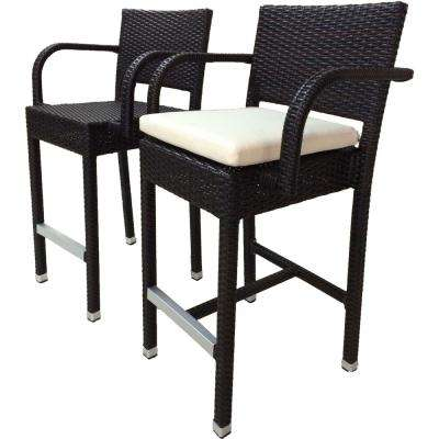 Sunflower Espresso All Weather Wicker Patio Outdoor Bar Stool With Cream Cushion 2