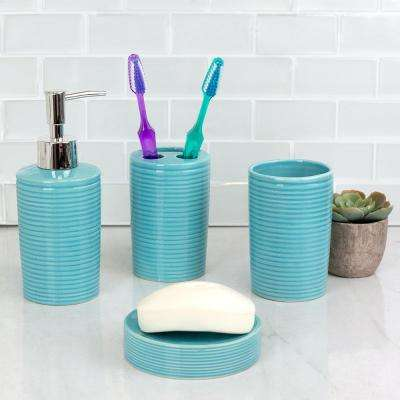 Horizon 4-Path Bath Accessory Set in Turquoise