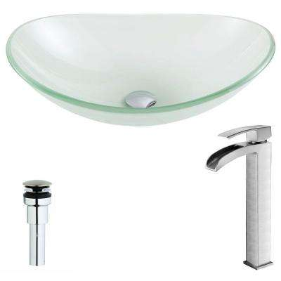 Forza Series Deco-Glass Vessel Sink in Lustrous Frosted with Key Faucet in Brushed Nickel