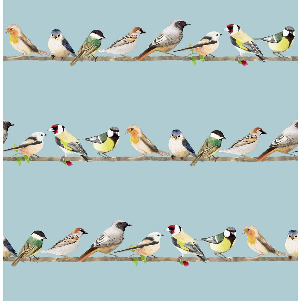 Tweeting Watercolor Birds Blue Paper Peelable Roll (Covers 56 sq. ft.)