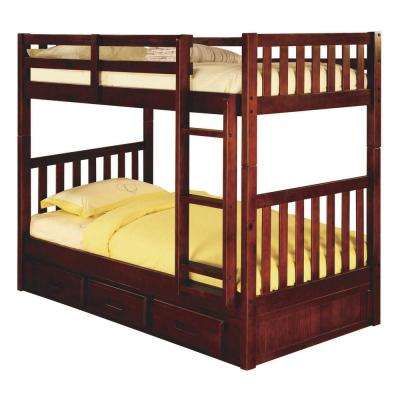 Merlot Twin over Twin Solid Pine Bunkbed with 3-Drawer Underbed Storage