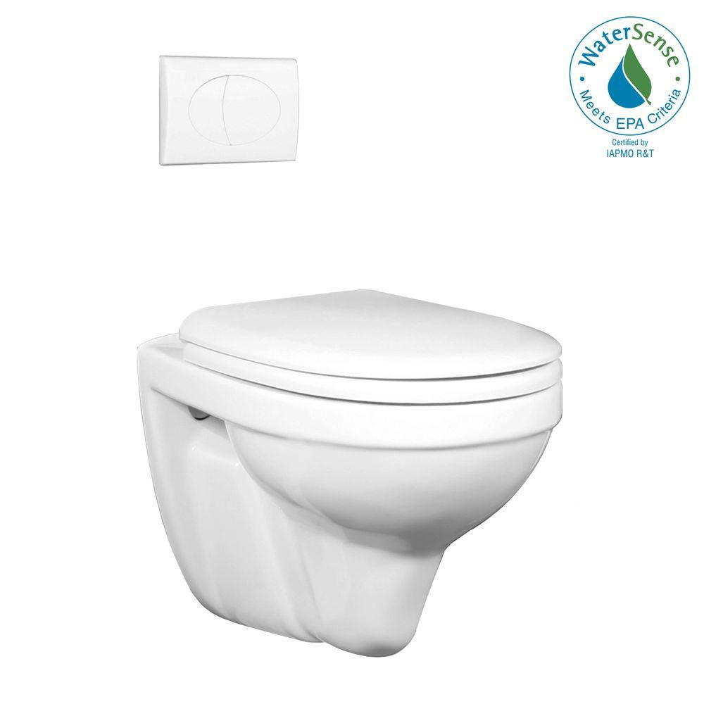 Foremost Matera Wall Hung 1-Piece 1.6 GPF Dual Flush Round Toilet in White with White Activator-DISCONTINUED