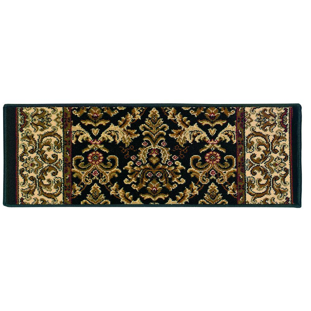 Kurdamir Elegante Black 9 in. x 33 in. Stair Tread Cover