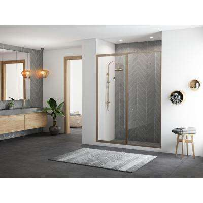 Legend 55.5 in. to 57 in. x 66 in. Framed Hinge Swing Shower Door with Inline Panel in Brushed Nickel with Clear Glass