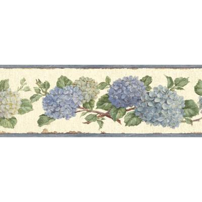Esther Blue Hydrangea Trail Blue Wallpaper Border Sample