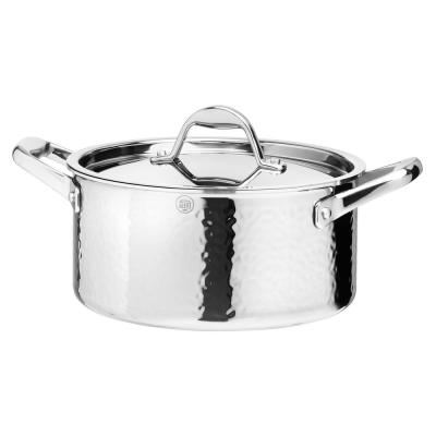 STERN 3.2 Qt. Hammered Stainless Steel Tri-Ply Stock Pot with Lid