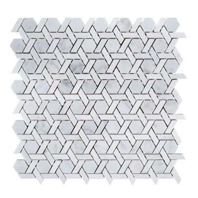 Primrose Chapel White 11.875 in. x 11.75 in. Basket Weave Textured Marble Wall and Floor Mosaic Tile (.968 sq. ft./Each)