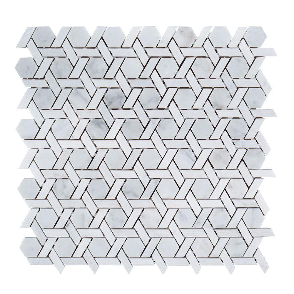 Primrose Chapel 9-3/4 in. x 11-1/8 in. x 8 mm Marble Mosaic Tile