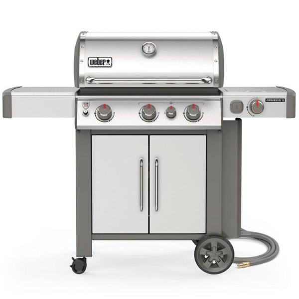 Genesis II S-335 3-Burner Natural Gas Grill in Stainless with Built-In Thermometer and Side Burner