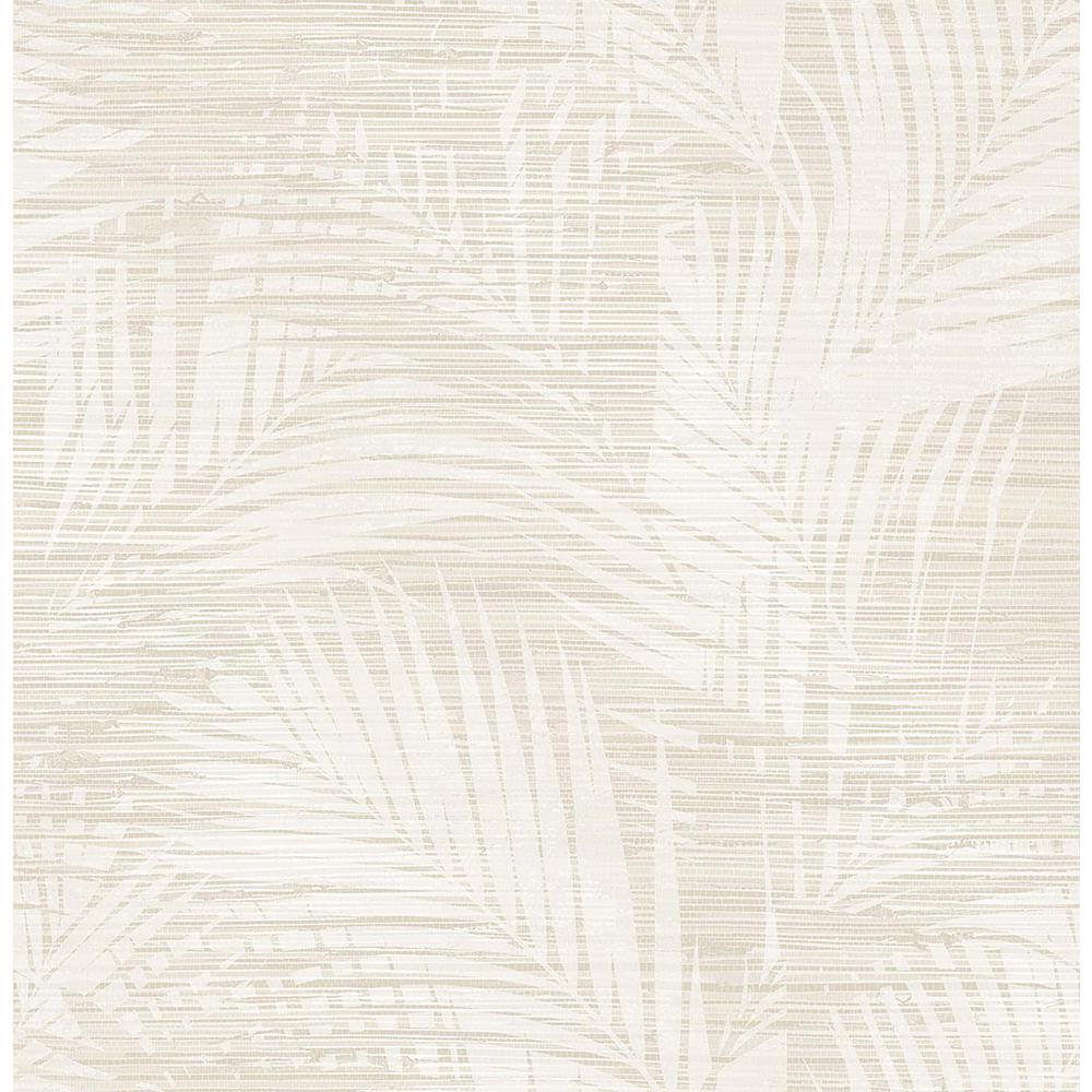 56.4 sq. ft. Motmot Cream Palm Wallpaper