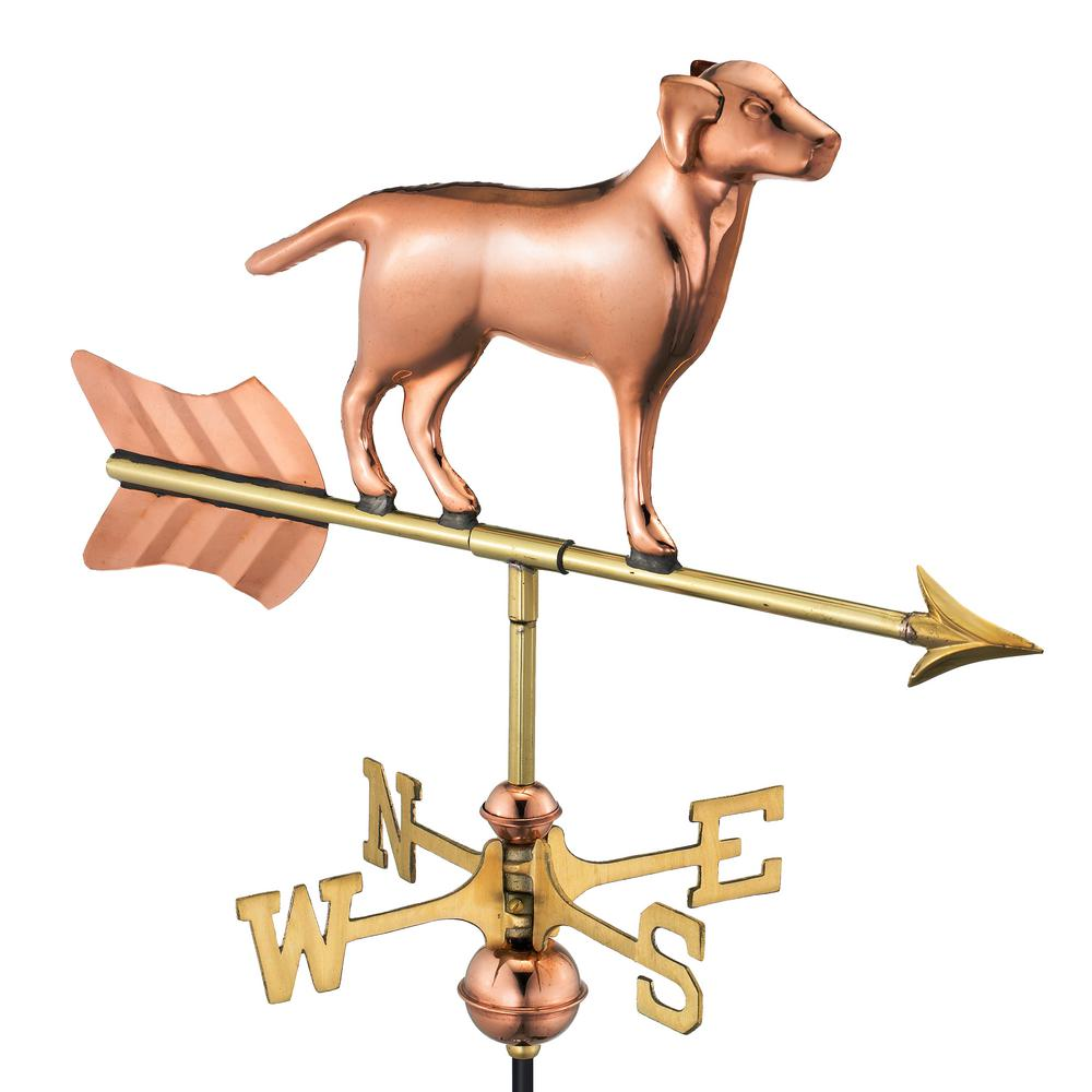 Labrador Retriever Cottage Weathervane - Pure Copper with Roof Mount