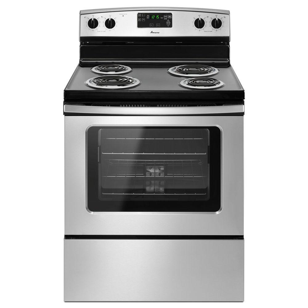 Amana 4.8 cu. ft. Electric Range with Self-Cleaning Oven in Stainless Steel