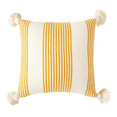 Mustard Striped Cotton and Chenille 20 in. x 20 in. Throw Pillow
