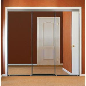 Impact Plus 120 In X 96 In Polished Edge Mirror Framed With Gasket Interior Closet Sliding Door With Chrome Trim S293 12096c The Home Depot
