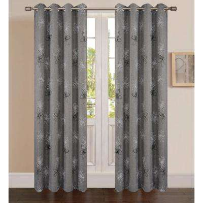 Crawford Graphite Floral Print Polyester Curtain - 95 in. L x 54 in. W