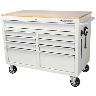 46 in. W x 24.5 in. D 9-Drawer Gloss White Deep Tool Chest Mobile Workbench with Hardwood Top
