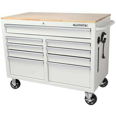 46 in. W x 24.5 in. D 9-Drawer Tool Chest Mobile Workbench with Solid Wood Top in Gloss White