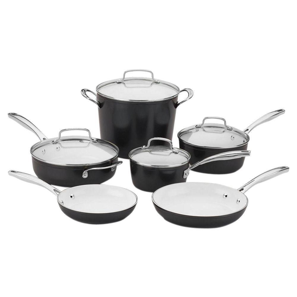 Cuisinart Elements 10 Piece Black Cookware Set With Lids