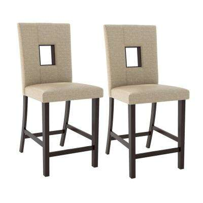 Bistro Woven Cream Fabric Counter Height Dining Chairs (Set of 2)