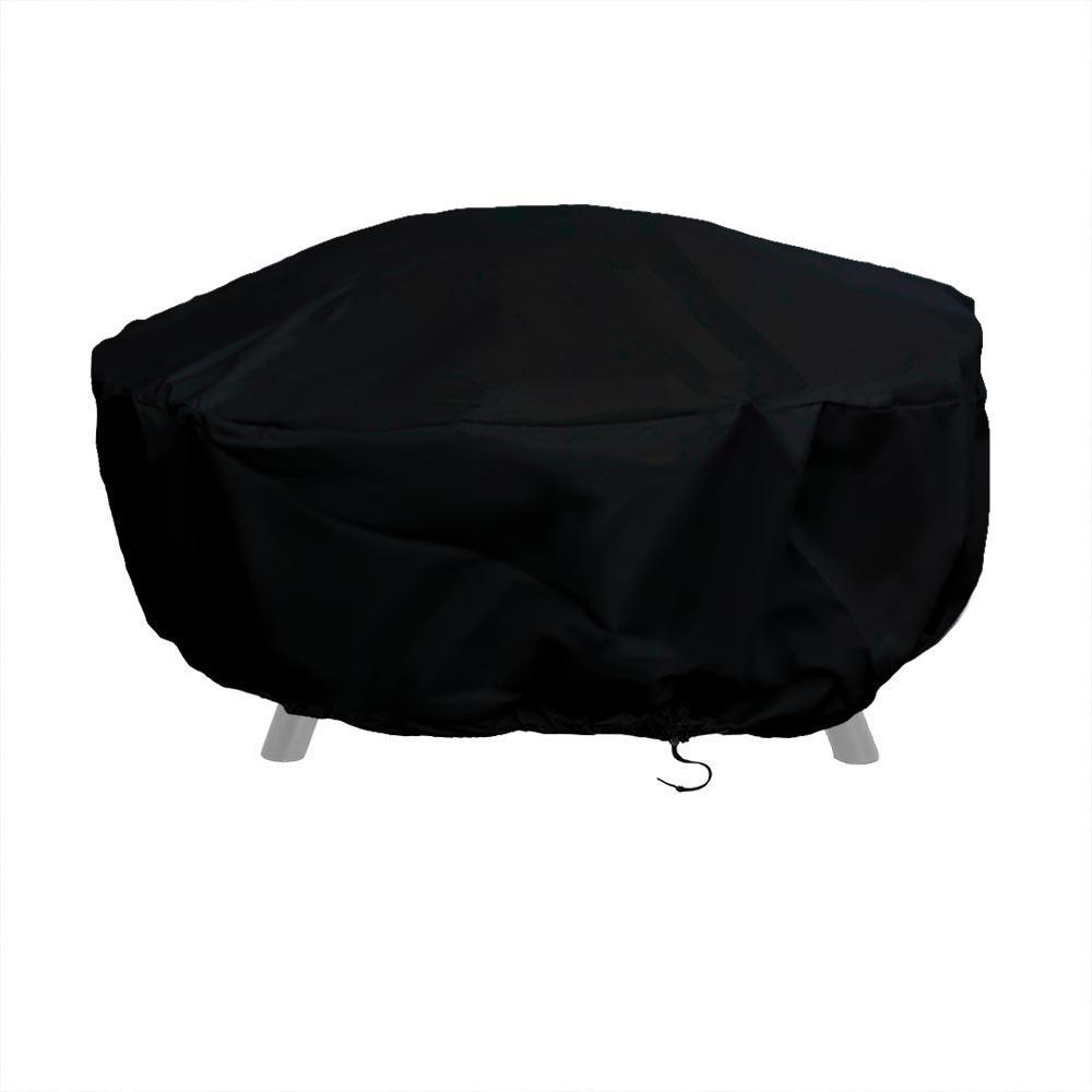 Sunnydaze Decor 48 in. Black Durable Round Fire Pit Cover Long-Lasting PVC