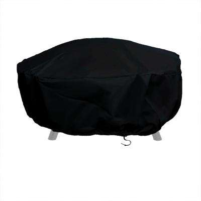 48 in. Black Durable Round Fire Pit Cover Long-Lasting PVC