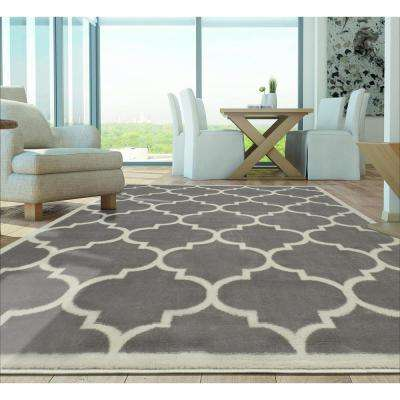 Contemporary Moroccan Trellis Gray 8 ft. x 10 ft. Area Rug