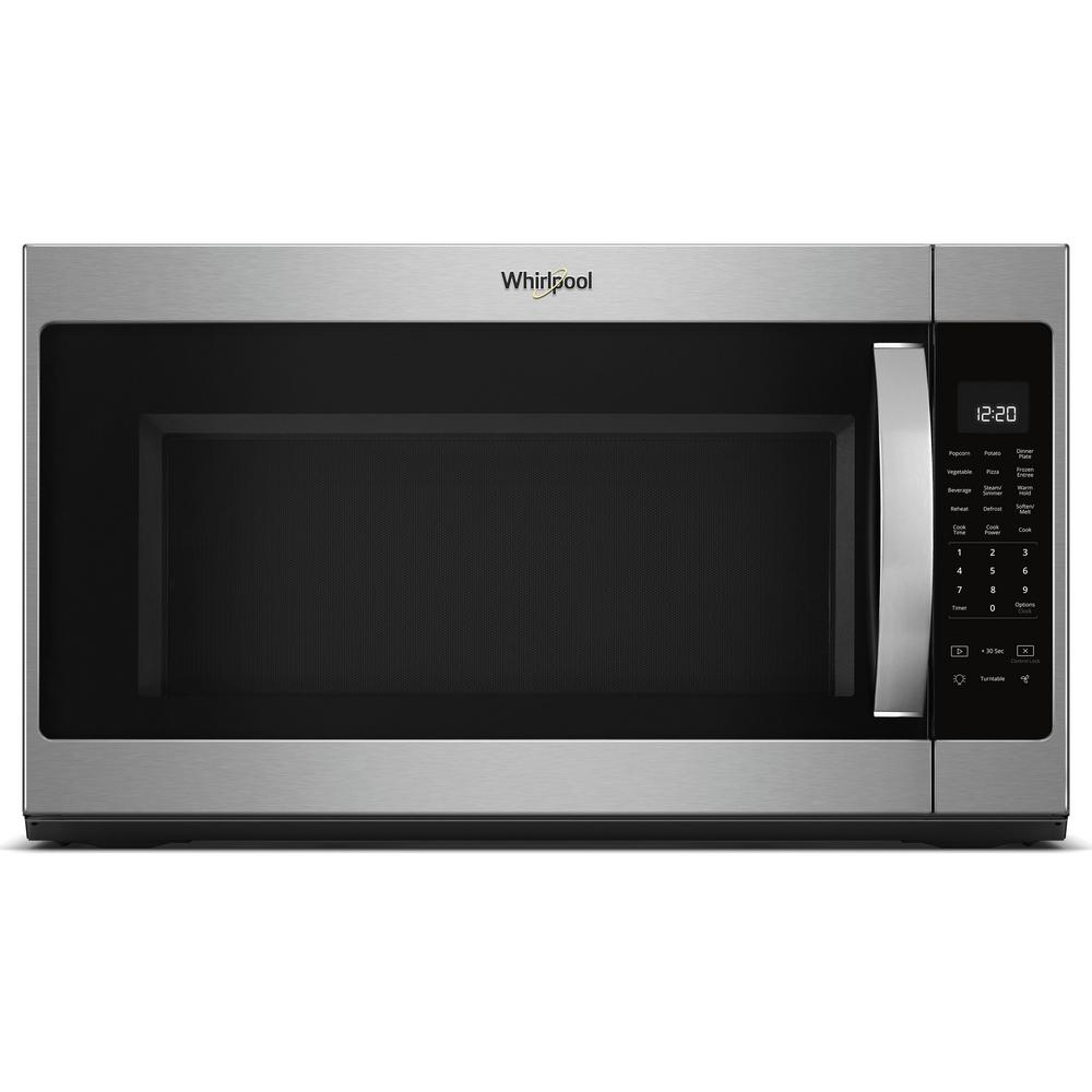 Whirlpool 2.1 cu. ft. Over the Range Microwave with Steam Cooking in Black On Stainless