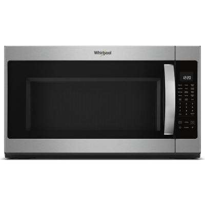 2.1 cu. ft. Over the Range Microwave with Steam Cooking in Black On Stainless