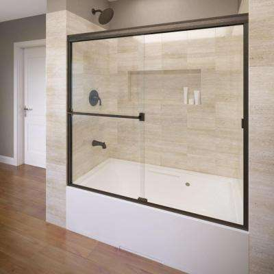 Classic 56 in. x 56 in. Semi-Framed Sliding Tub Door in Oil Rubbed Bronze