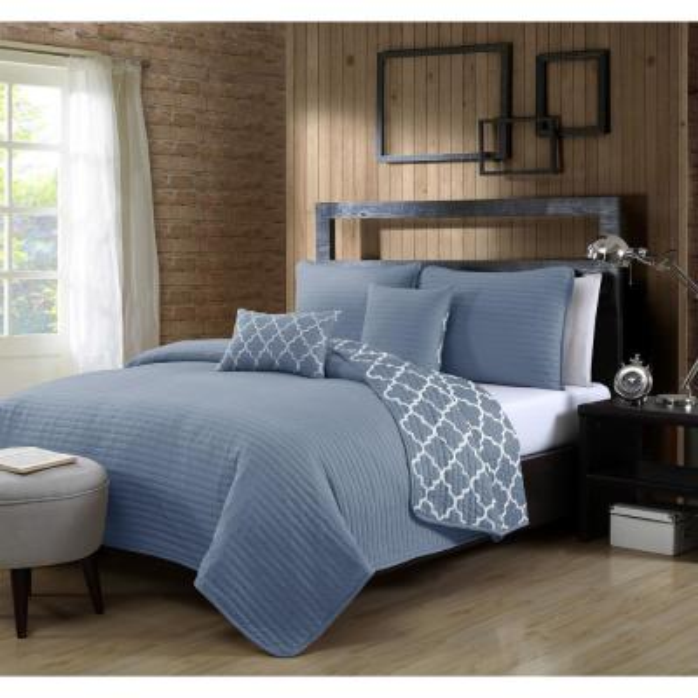 Griffin Blue Twin Quilt Set