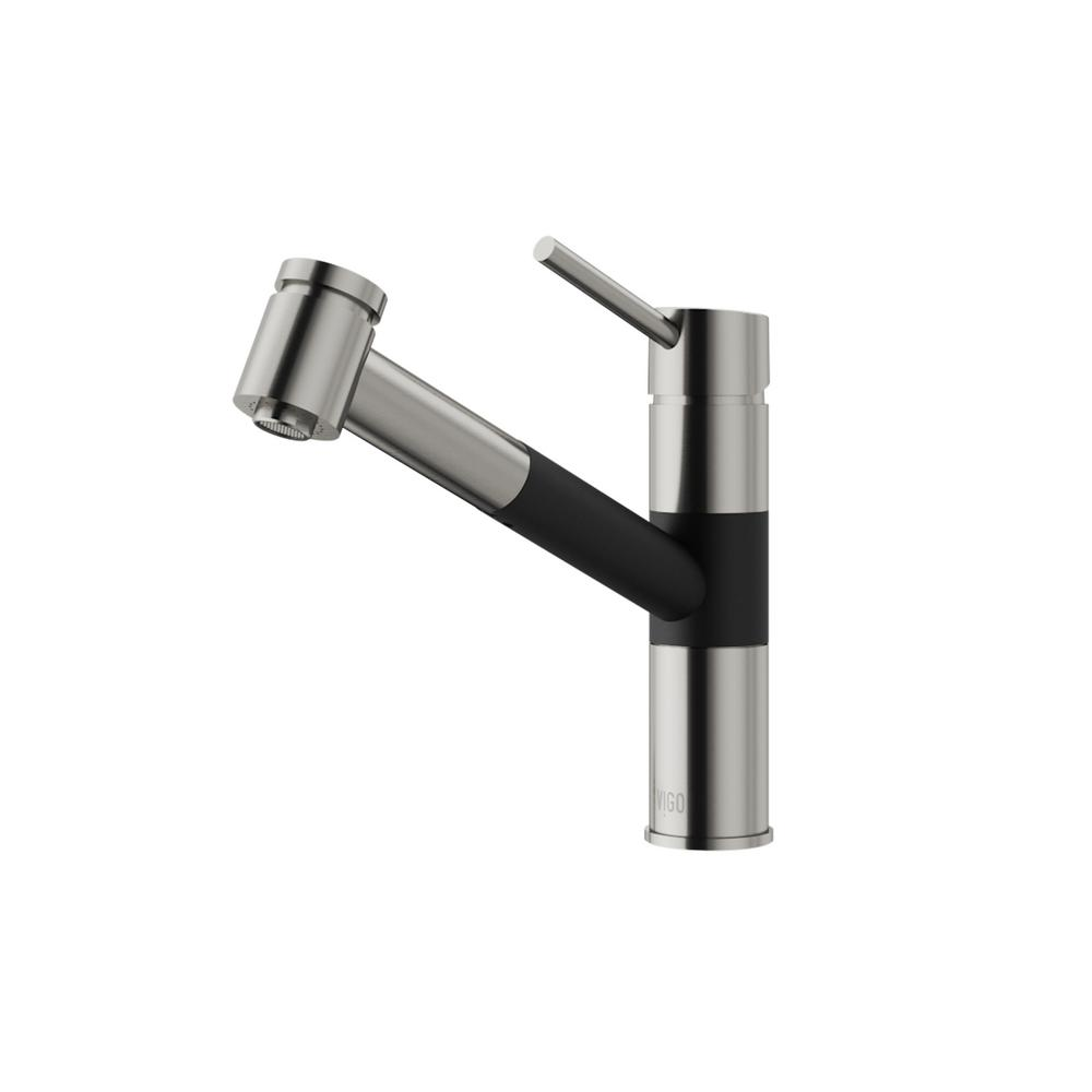 VIGO Branson Single-Handle Pull-Out Sprayer Kitchen Faucet in ...