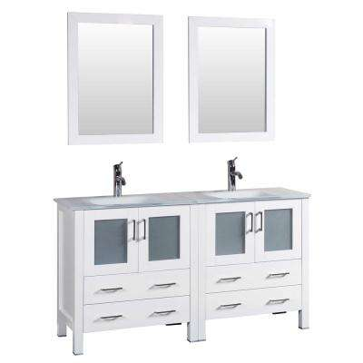 60 in. W Double Bath Vanity in White with Tempered Glass Vanity Top with White Basin and Mirror
