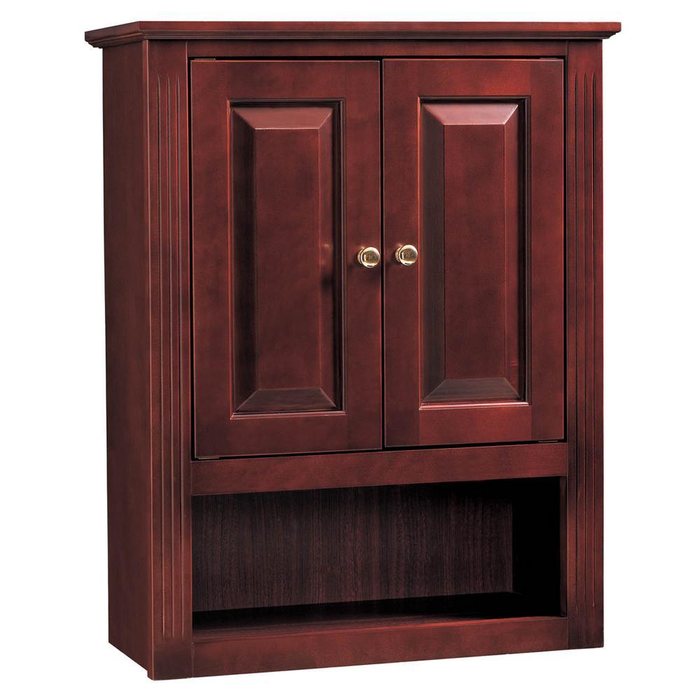 24 in. W x 9 in. D Linen Cabinet in Cherry