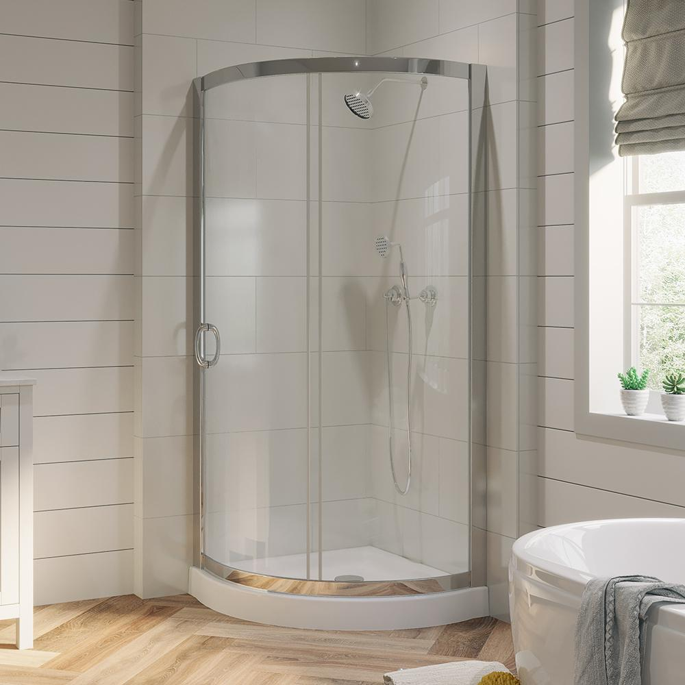 OVE Decors Breeze 31 in. x 31 in. x 76 in. Shower Kit with Reversible Sliding Door and Shower Base