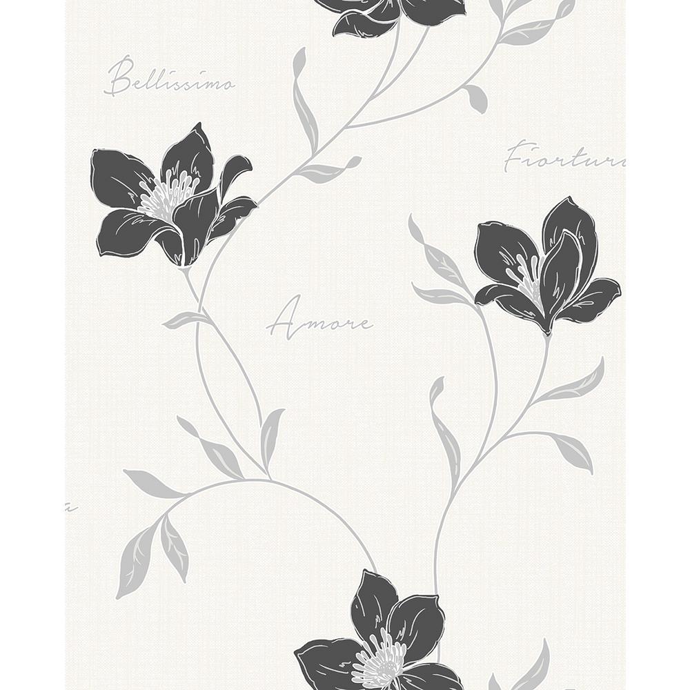 8 in. x 10 in. Mischa Black Floral Wallpaper Sample