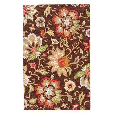 Brown 2 ft. x 3 ft. Floral Area Rug