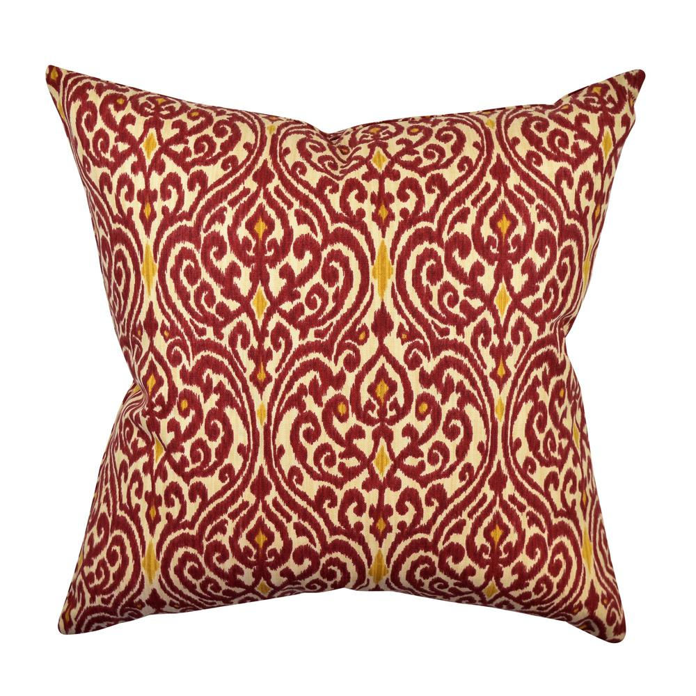 Vesper Lane Modern Red Damask Designer Throw Pillow