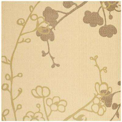 Courtyard Natural/Olive 7 ft. x 7 ft. Indoor/Outdoor Square Area Rug
