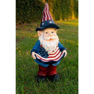 22 in. Americana Gnome with Bird Feeder