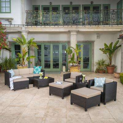 Puerta Dark Brown 10-Piece Wicker Outdoor Sectional Set with Beige Cushions