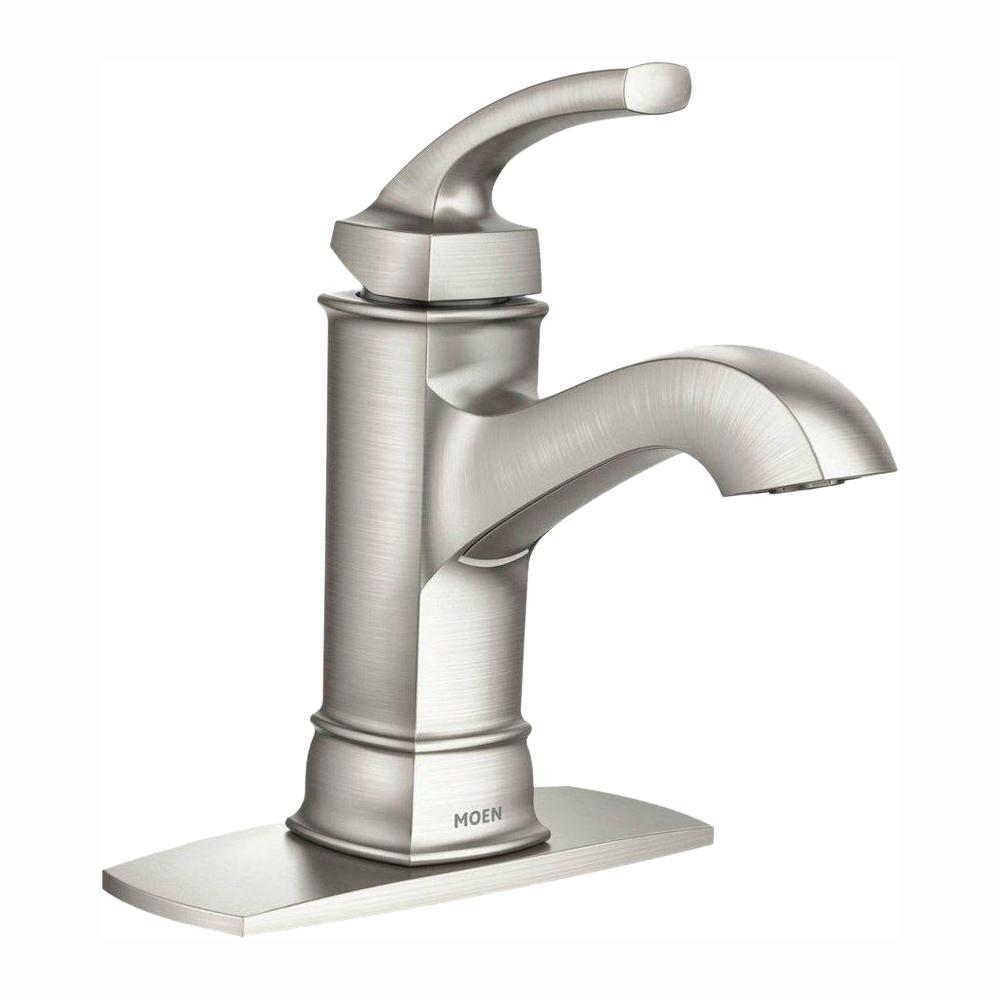 Moen hensley single hole single handle bathroom faucet in - Single hole bathroom faucets brushed nickel ...